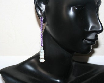 Earrings set with opals + amethysts loops Silver 925/1000