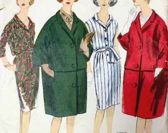 1960s Vintage VOGUE Sewing Pattern B34 DRESS & COAT (1383R) Christian Dior