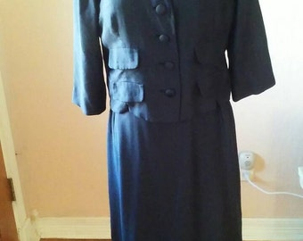 50s-60s Navy blue dress and jacket ensemble by Tranell, Dallas