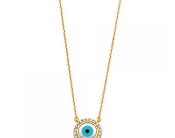 14K Solid Yellow Gold Cubic Zirconia Evil Eye Necklace Pendant + Rolo Chain - Blue Good Luck Charm Women's