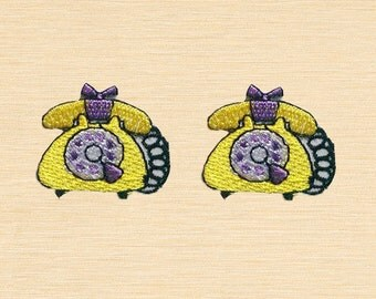 Set of 2 pcs Mini Yellow Retro Telephone Iron On Patches Sew On Appliques