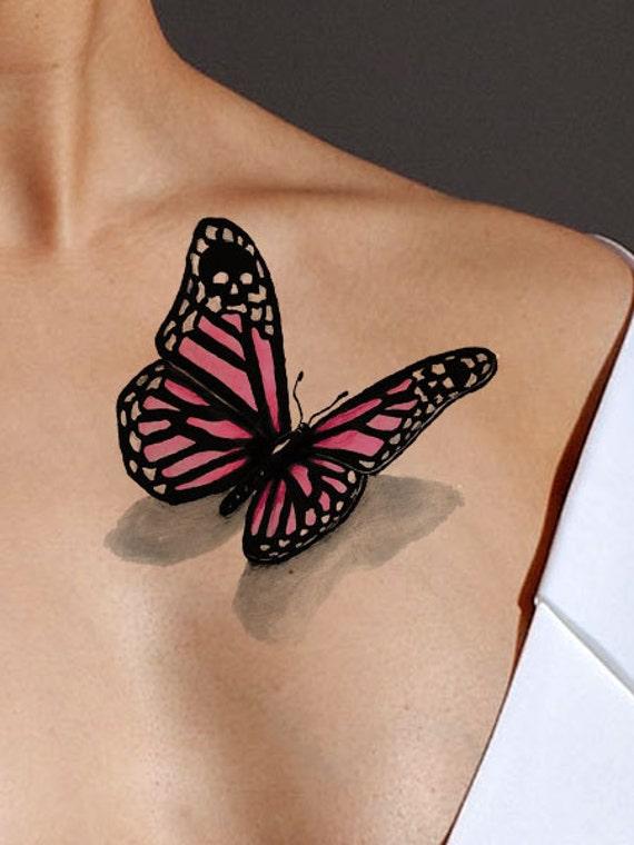 rosa schmetterling t towierung aquarell tattoo design geschenk. Black Bedroom Furniture Sets. Home Design Ideas