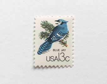 5 Unused Vintage Postage Stamps US // blue jay bird woodlands Stamps // 1978 // 13 cents