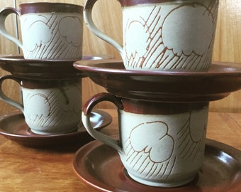 Cloud and rain motif--Set of 4 handcrafted tea | cofee mugs, 1979 USA