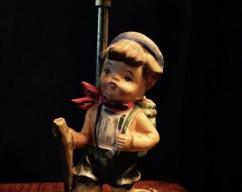 Vintage Ceramic Walking Boy Figurine Lamp, Vintage lamps, Vintage Table Lamps, Antique Lamps