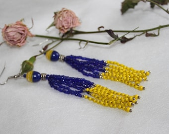 Yellow Blue earrings,  Ukrainian colors, national earrings, Ukrainian, flag color earrings,