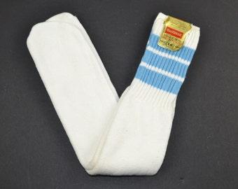 Vintage 1970's Striped TUBE SOCKS by Healthknit Size 9-11 Cotton/Nylon Light Blue Stripes - NEW Old Stock w/ Tags