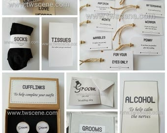 Grooms wedding survival gift box from bride bestman gift from groom