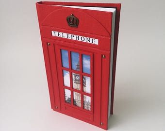 Red British Telephone Booth journal, London style notebook, exclusive red telephone box journal, handcrafted gift for her and him