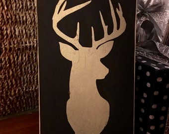 Gold Glitter Buck Wood Sign
