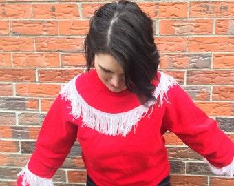 Red Fringe Sweatshirt