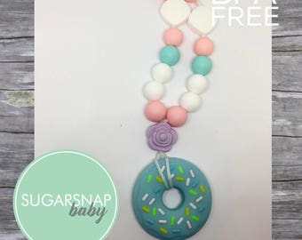 Silicone Teething Necklace - CHEWLERY -donut necklace for kid or Baby Chew Necklace - autism - baby sensory necklace