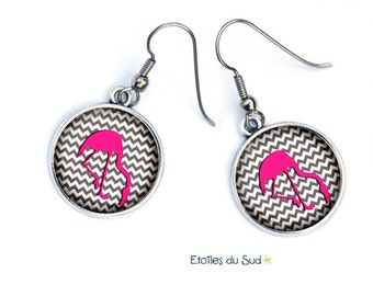 Pink Flamingo earrings, surgical steel hooks, ref.161