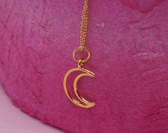 Moon necklace. Crescent moon necklace. Gold necklace. Gold plated silver. 24 karat gold vermeil. Layering jewelry. UK