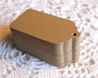 10 scalloped tags labels American Kraft 4 cm * 7 cm medium