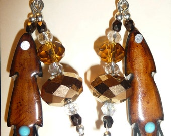 Native American Antler Feather Earrings