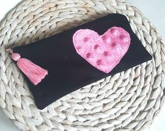 Zipper pouch, zip bag, heart pencil case, make up bag, bag organiser, stationery organiser, school suppliers, tassle bag, school bag,