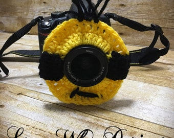 Camera Lens Buddy, Minion Camera Lens Buddy, Minion Camera Buddy, Minion Lens Buddy, Minion Crochet Camera Buddy, Crochet