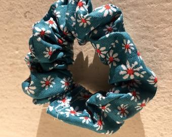 Teal Flower Scrunchie