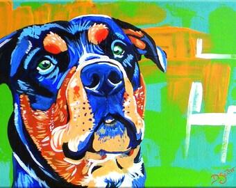 Rottweiller, Shelter Pet Portrait Roman the Rotty, Acrylic Pet Portrait Painting, Proceeds Go to Angel Ridge Animal Rescue
