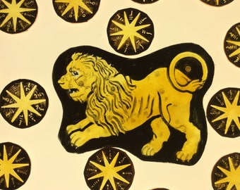 Leo lion constellation August horoscope gold clear star stained glass supply stars