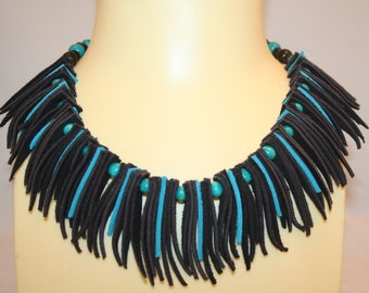 Handmade Suede Leather Turquoise and Black Necklace with Turquoise Wooden Beads
