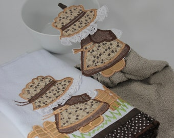 Set of 2 Embroidered Tea Towels, Kitchen Towels, Brown Kitchen Towel, Embroidered Towel, Girl Towel