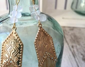 Crystal Quartz Fringe Golden Earrings
