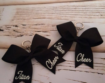 FULLY Customizable Keychain Bow- personalized keychain bow-cheer squad keychain bows-cheer coach gift