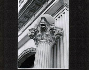 Column, Utica, Central New York, CNY, architecture, photograph, Corinthian, greyscale, print
