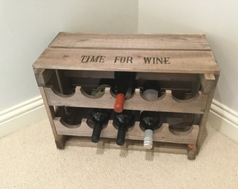 Vintage Style Wooden Reproduction Apple Crate Wine Rack TIME FOR WINE