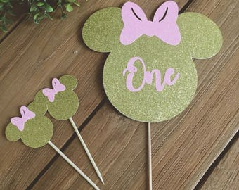 Glittered Minnie Mouse  Cake Toppers, Minnie Cake Toppers, Minnie Cake, Minnie Mouse Party, Gold Minnie Mouse Cake Topper