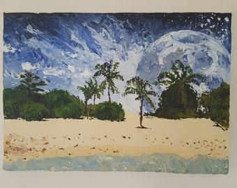 "12x8.25"" Surreal Beach Medium Acrylic Painting"