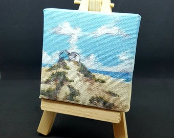 """2.75x2.75"""" Beach Huts Miniature Printed Canvas and Easel"""