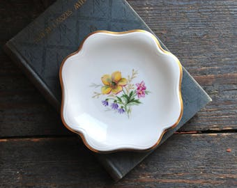 Vintage small porcelain ring dish, small porcelain plate