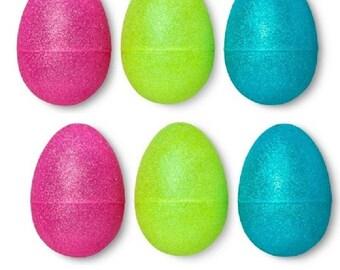 9 Large Plastic Glitter Easter Eggs