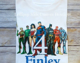 Justice League...Birthday white short sleeve Shirt