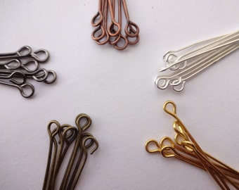 200pcs  Eye pins in Bright Silver Gold Bronze Black and Copper - Various sizes to choose ranging from 18mm to 70mm Round Eye Eyepins