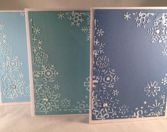 Set of 5 Snowflakes Border CLASSIC Winter Cards