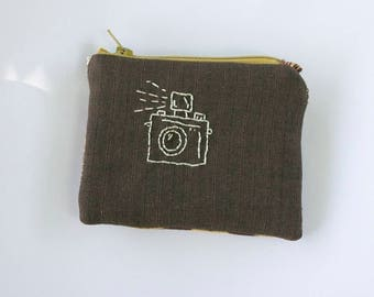 Camera Embroidered Pouch - one of a kind zipper - lined - matte gold sequins - cotton brown faux bois wood grain - Handmade in USA