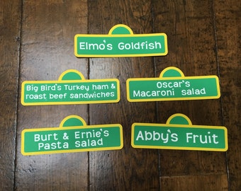 Sesame Street food signs