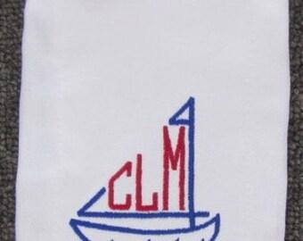 Sailboat Embroidered Burp Cloth