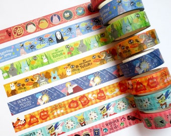 Studio Ghibli Washi Tape, My Neighbor Totoro, Howl's Moving Castle, Kiki's Delivery Service, Spirited Away Washi Roll, Deco Tape Sample