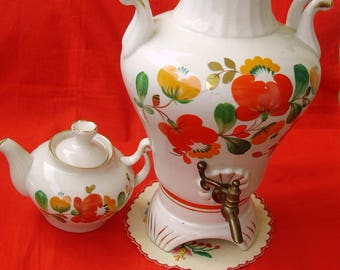 Never used Vintage Russian porcelain electric samovar with its serving kettle,handpainted,stamped,фарфоровый самовар