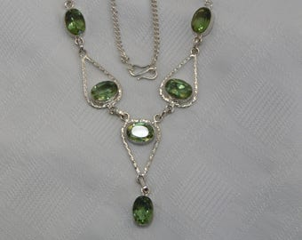 green quartz and sterling silver necklace
