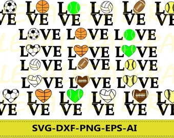 60 % OFF, Love SVG, Sport Ball svg, Love Sport Monogram svg, Love files Svg, Dxf, Png, Eps, Silhouette Studio, Cricut_Instant Download