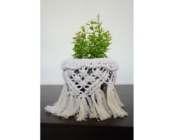 Macrame Plant Pot Cover, Boho Home Decor Gift, Plant Pot Holder for Wedding Decor, Modern Macrame Decor, Housewarming Gift, Macrame Art