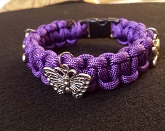 Paracord Butterfly charm bracelet! very cool! great gift and free shipping!