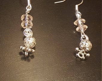 Silver, and clear earrings