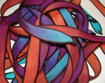 "1PC. COSMIC BURST 42"" hand dyed wrist wrap bracelet silk ribbon//Yoga wrist wrap bracelet ribbons//Hand dyed Boho Silk wrist wrap ribbon"